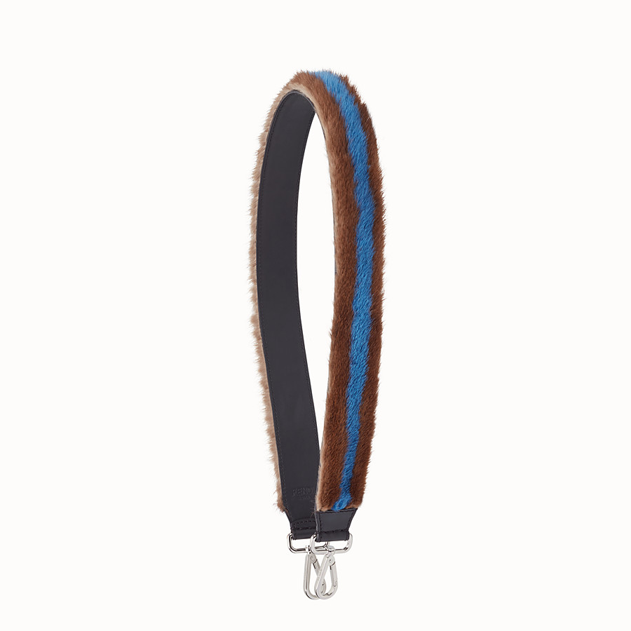 Strap You - Brown and blue fur shoulder strap