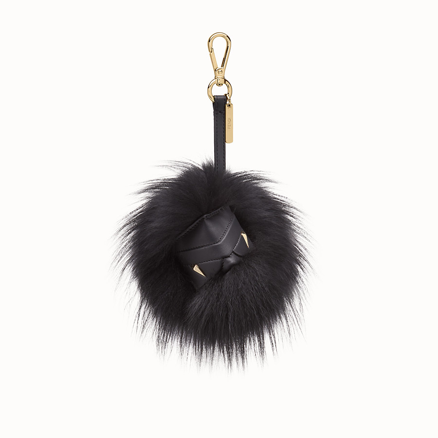 Bag Bugs Cube Charm - Black fox fur charm