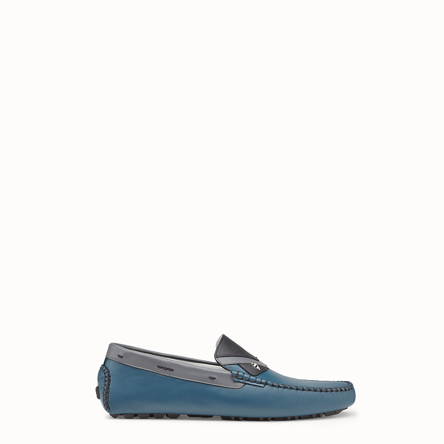 Loafers - Blue and grey leather drivers