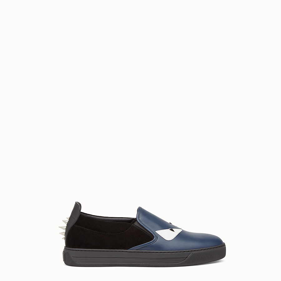 Sneaker - Slip-ons in blue leather and black suede