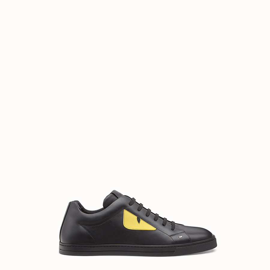 Sneaker - Black and yellow leather lace-ups