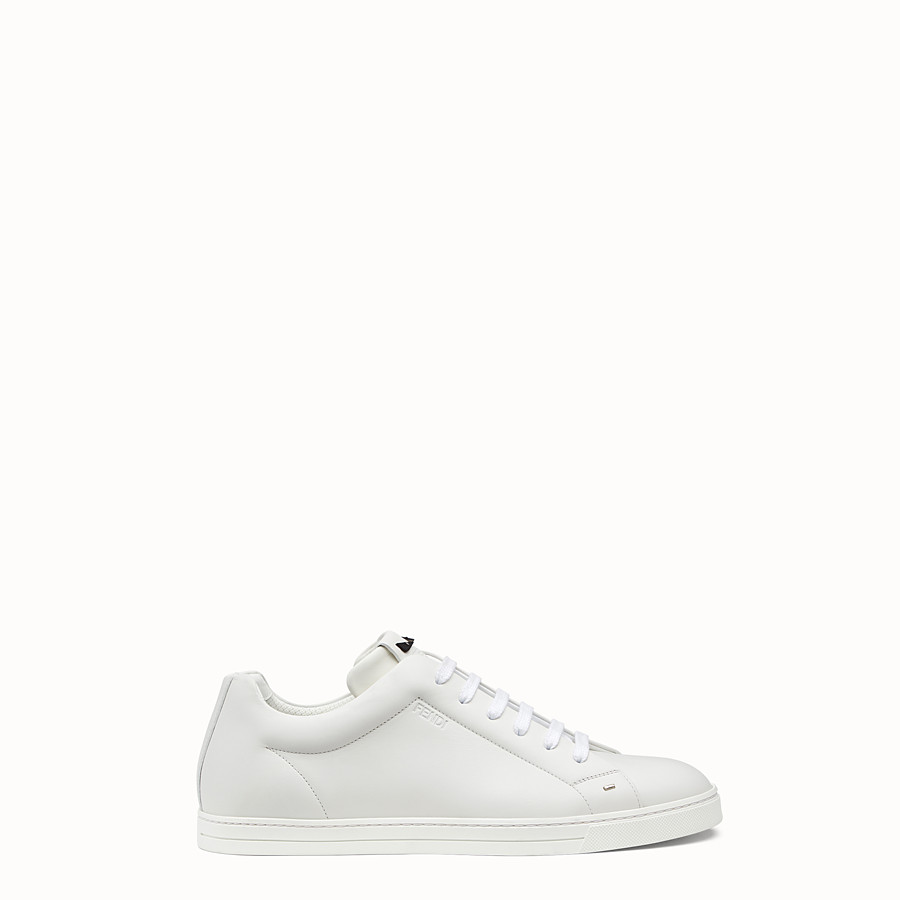 Sneakers - White leather lace-ups