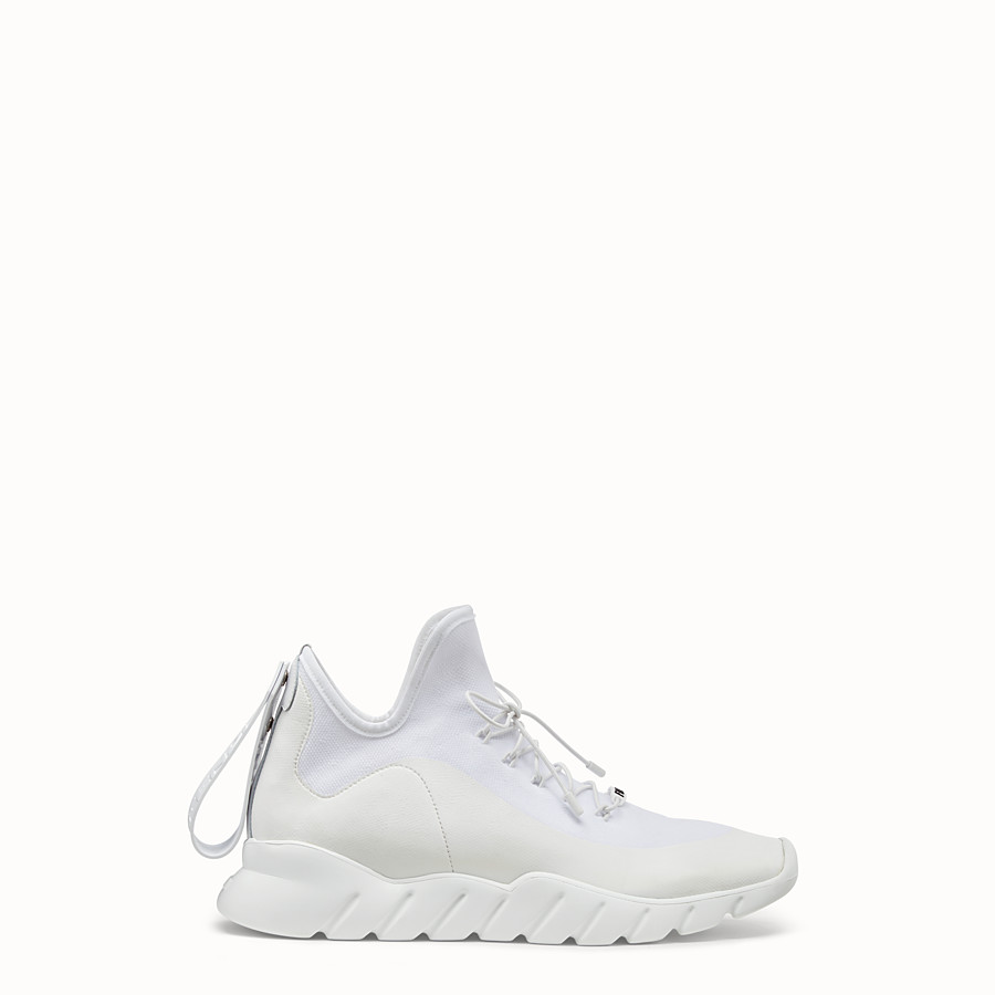 Sneakers - White technical knit fabric high-tops