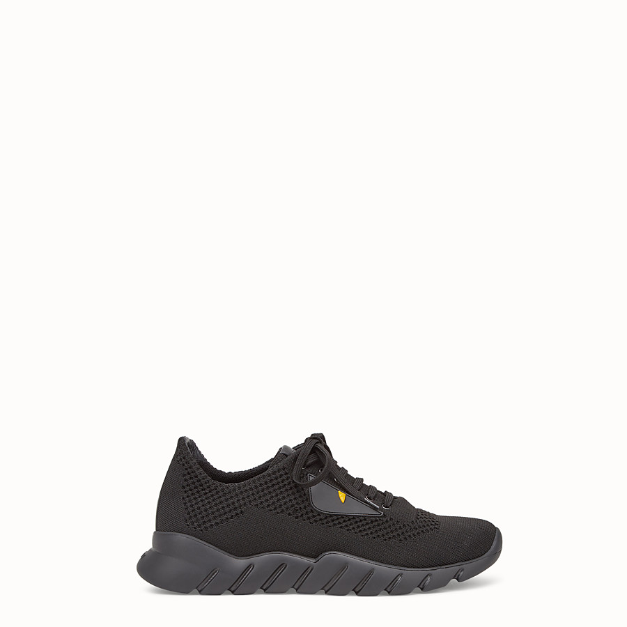 Sneakers - Fabric and black leather running shoes