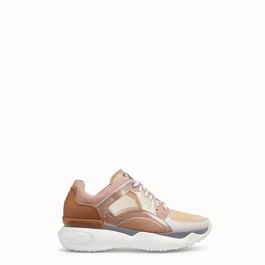 Sneakers - Beige technical mesh, leather and vinyl sneakers