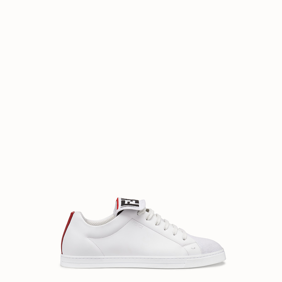 Sneakers - White mesh and leather low-tops