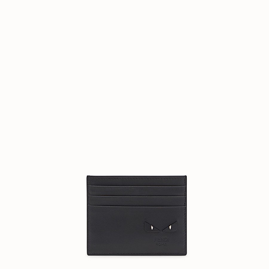 Card Holder - Black leather card holder with six slots