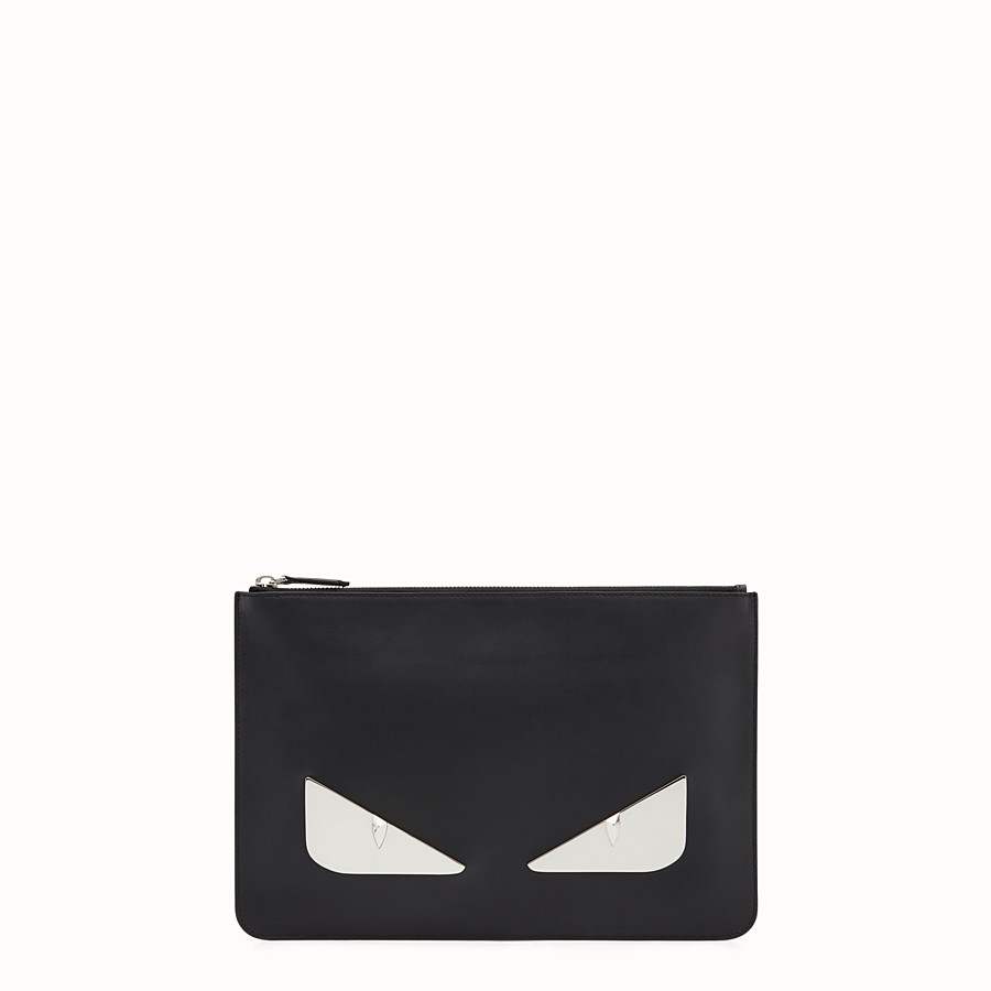 Pouch - in black leather and metal