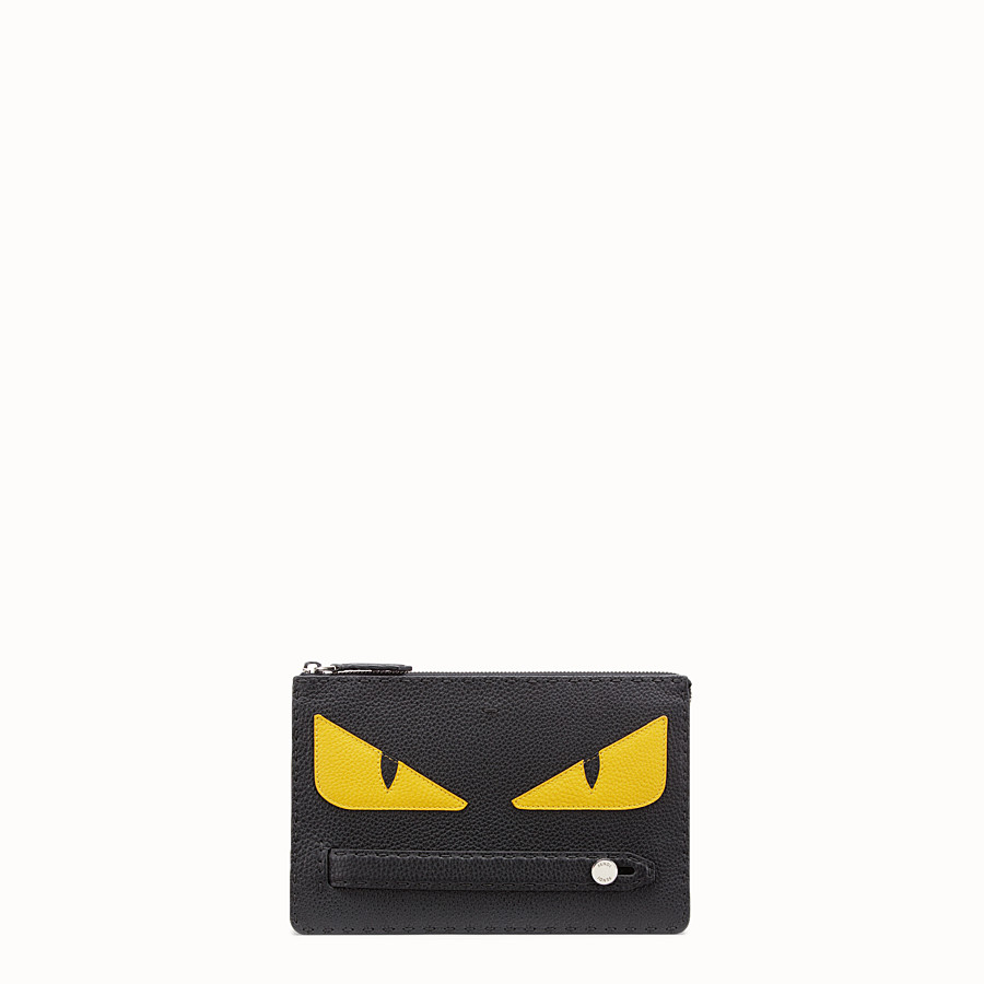 Clutch - in black Roman leather with inlay