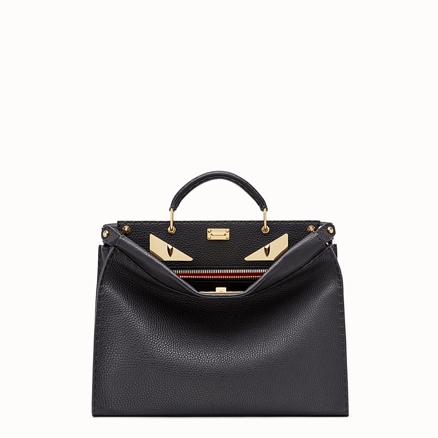 Peekaboo Fit - Black Roman leather bag