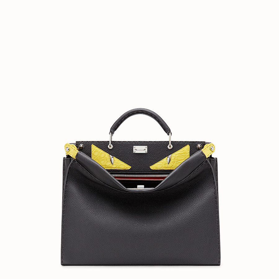 Peekaboo Fit - Black Roman leather bag with exotic leather details