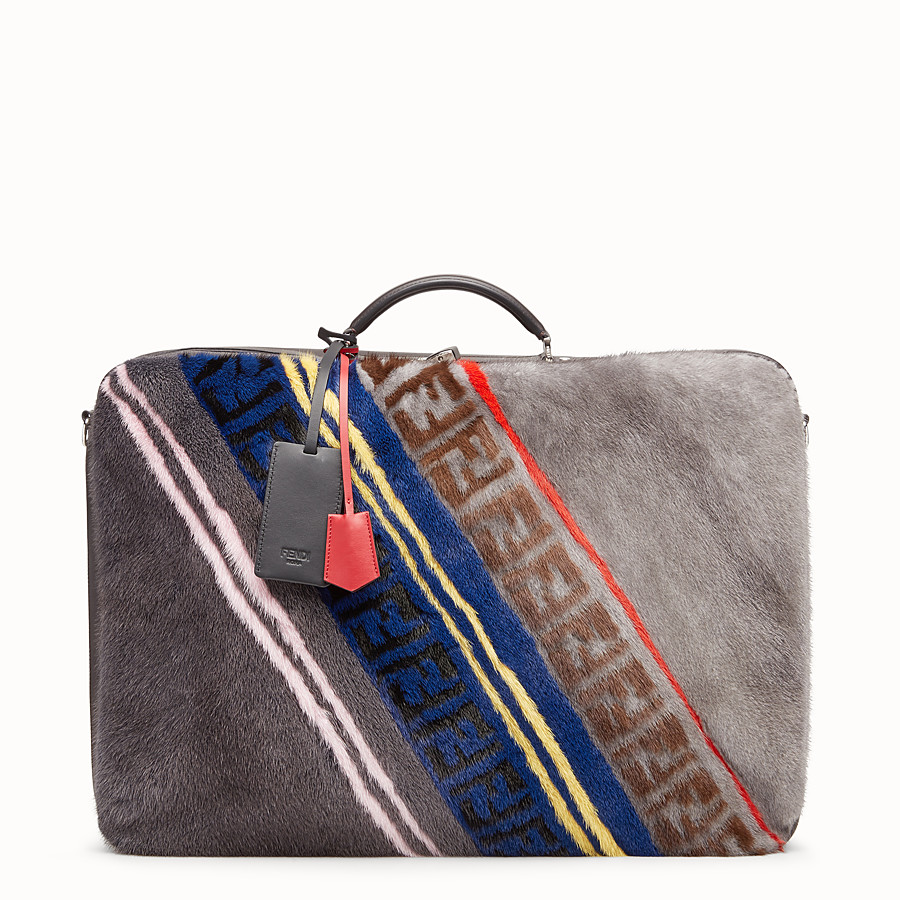 Suitcase - Multicolour leather and mink suitcase