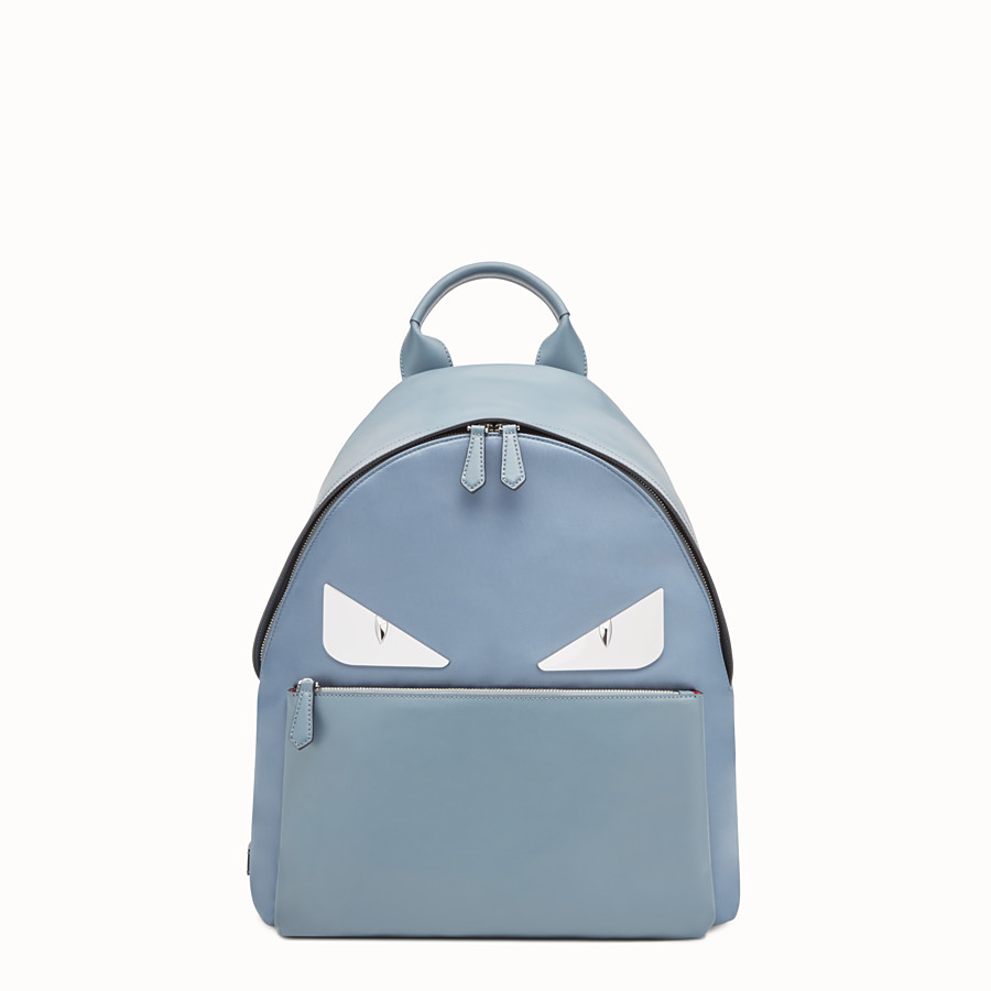 Backpack - Light blue nylon and leather backpack
