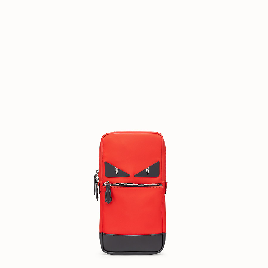 Belt Bag - Red fabric and leather one-shoulder backpack