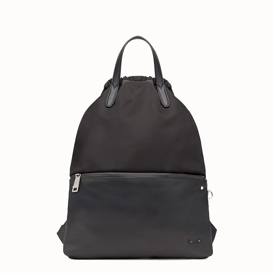 Backpack - Black nylon and leather backpack