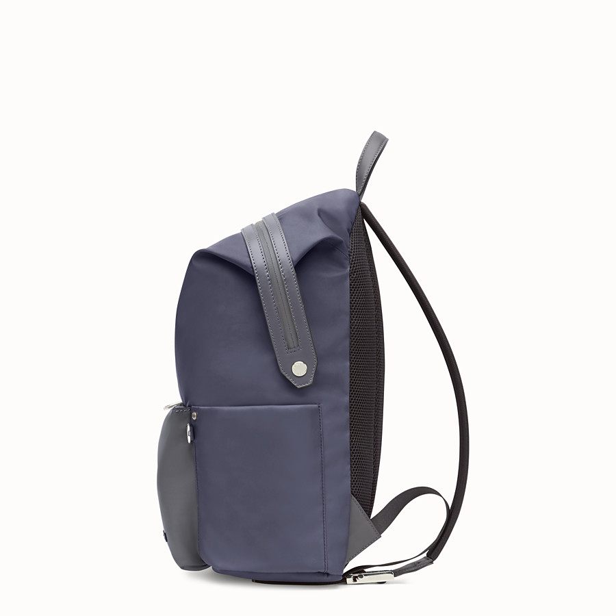 Backpack - Blue nylon and leather backpack