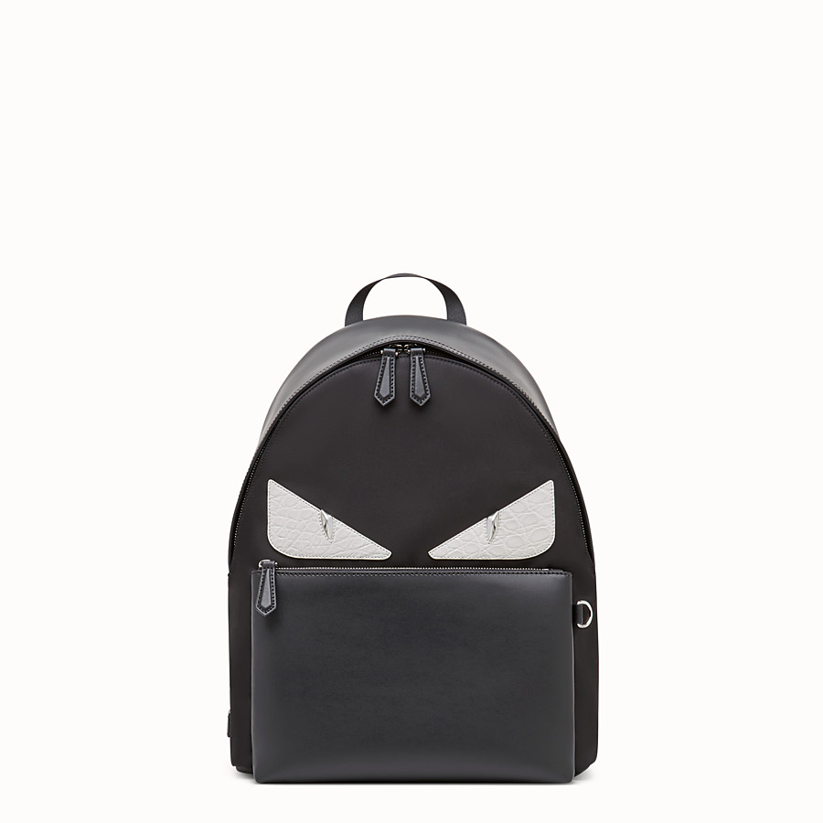 Backpack - Black nylon backpack with exotic leather details