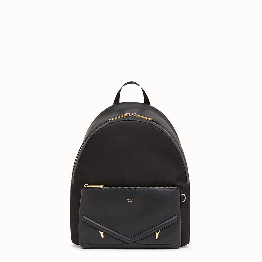 Backpack - Nylon and black leather backpack