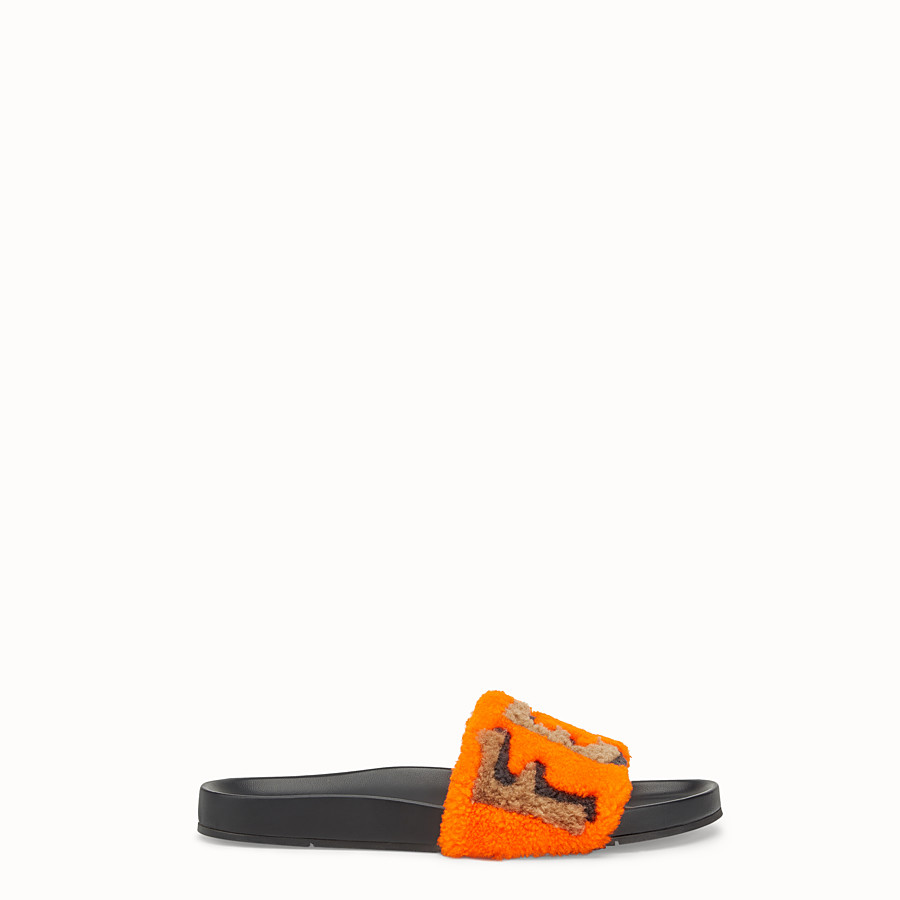 Flat Sandals - Slides in leather and orange sheepskin