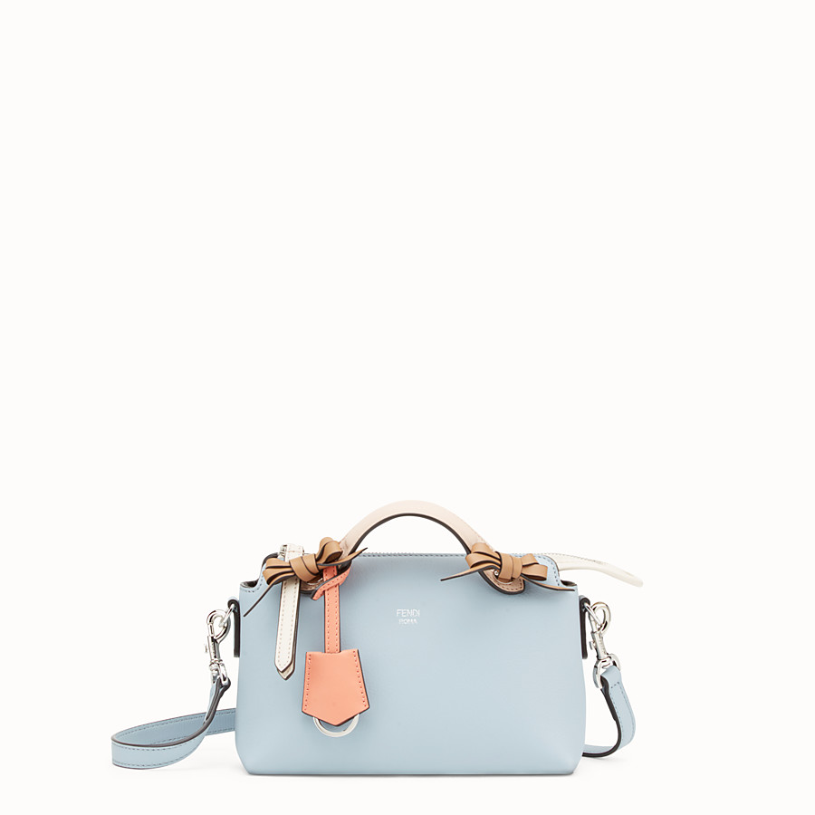 By The Way Mini - Small light blue leather Boston bag