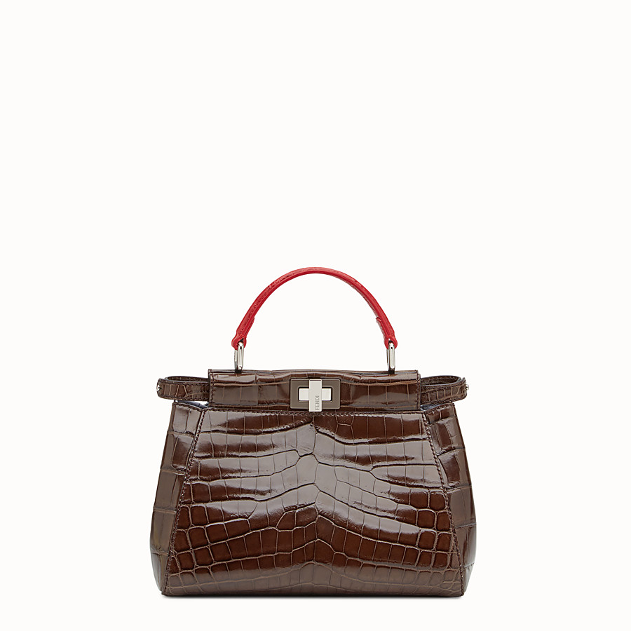 Peekaboo Mini - Brown crocodile leather handbag.