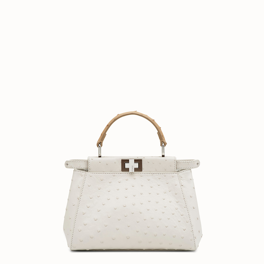 Peekaboo Mini - White ostrich bag