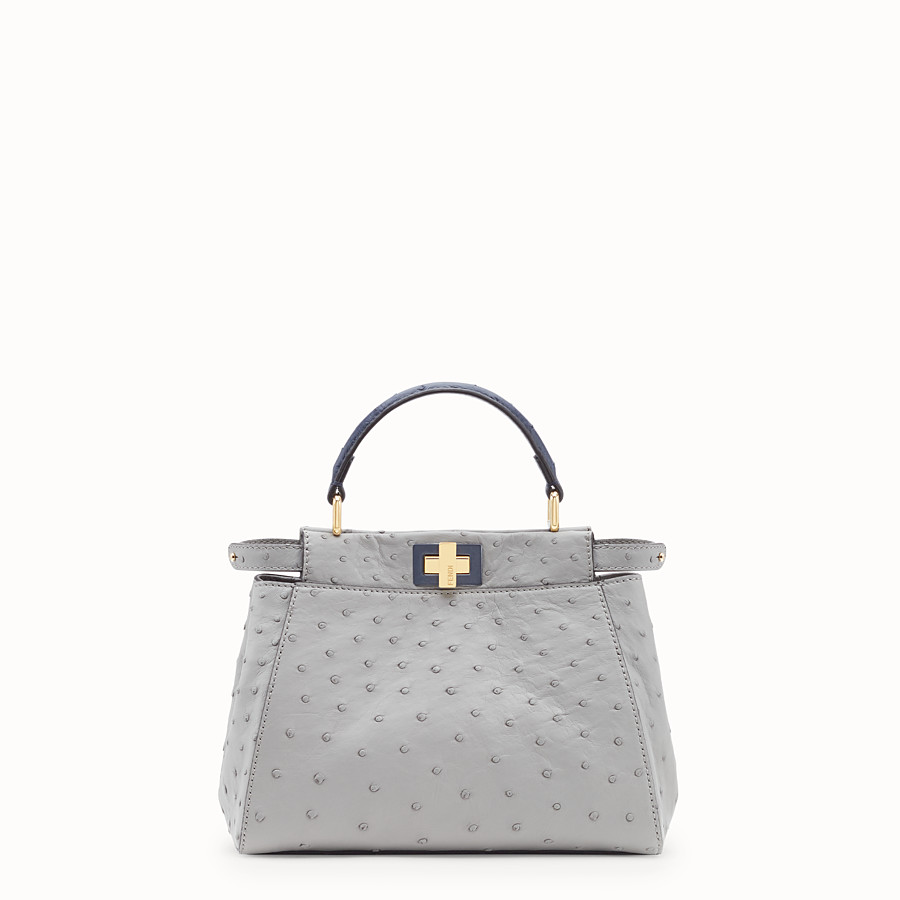 Peekaboo Mini - White ostrich leather bag