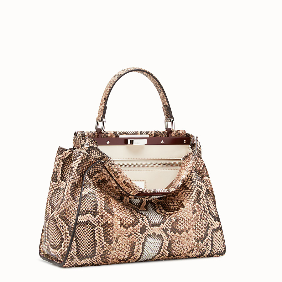 Peekaboo Regular - Beige python bag