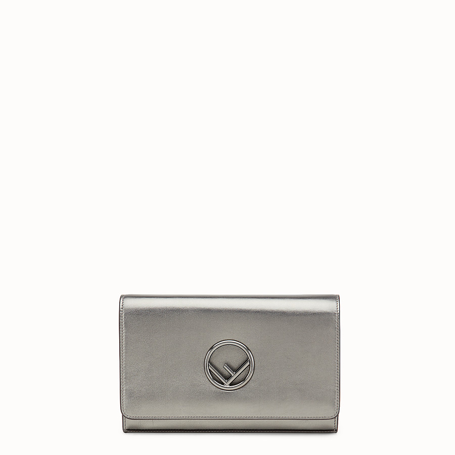 Wallet On Chain - Grey leather mini-bag