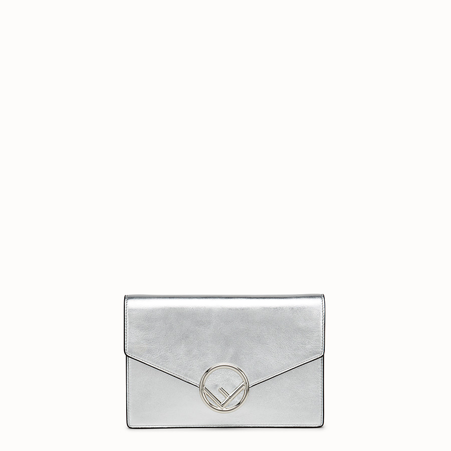 Wallet On Chain - Silver leather mini-bag