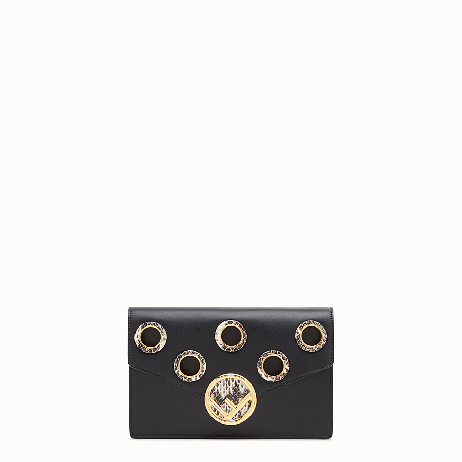 Wallet On Chain - Balck leather mini-bag with exotics details