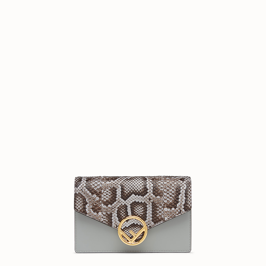 Wallet On Chain - Grey leather mini-bag, exotic details