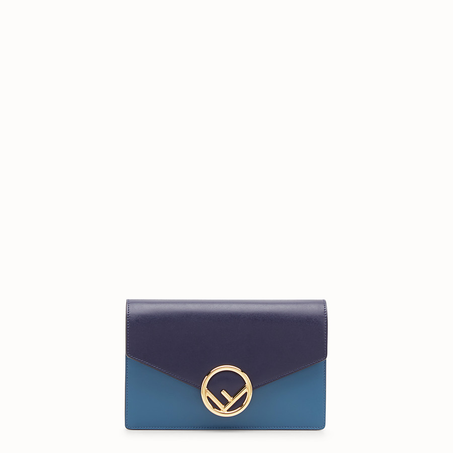 Wallet On Chain - Blue leather mini-bag