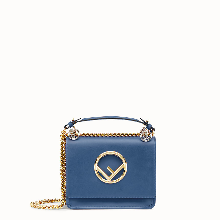 Kan I F Small - Dark blue leather mini-bag