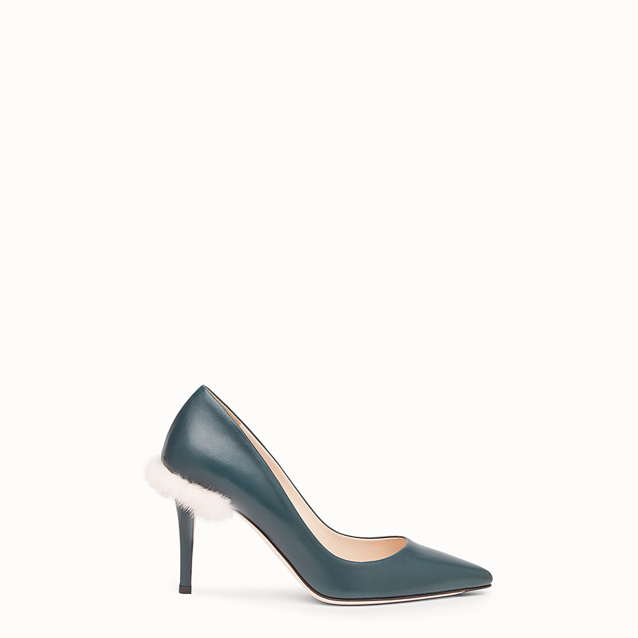 Court Shoes - Green leather court shoes