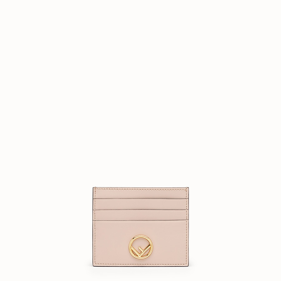 Card Holder - Pink flat leather card holder