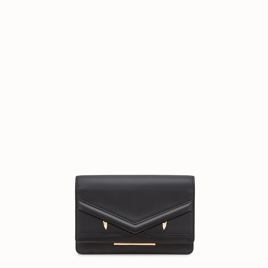 Wallet On Chain - Black leather mini-bag