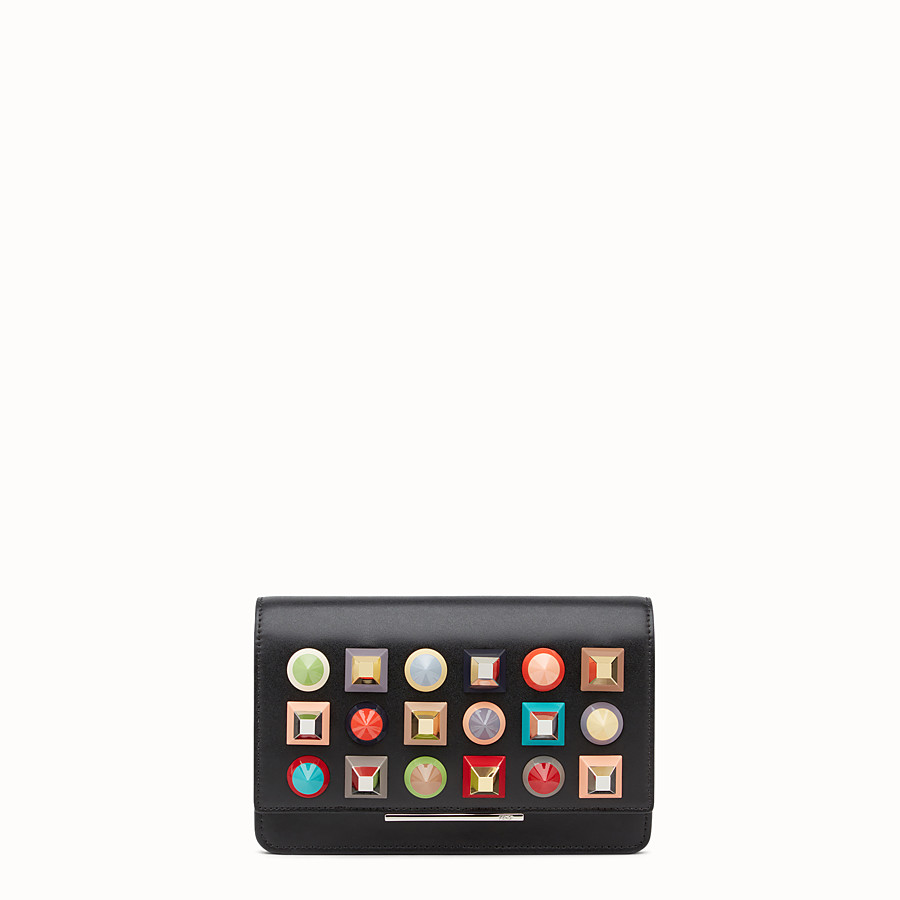 Wallet On Chain - in black leather with multicoloured studs