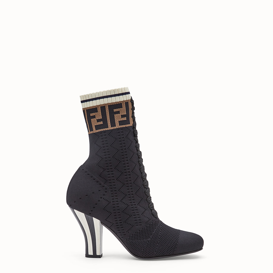 Boots - Black fabric ankle boots