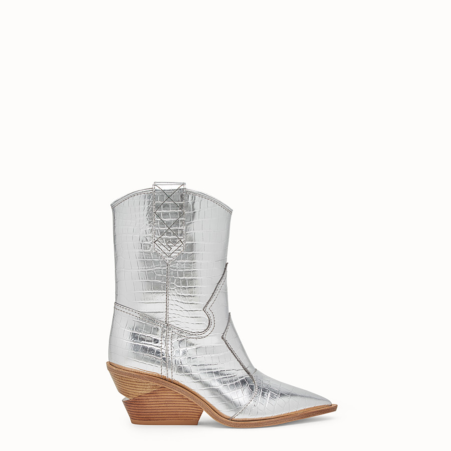 Boots - Silver leather ankle boots
