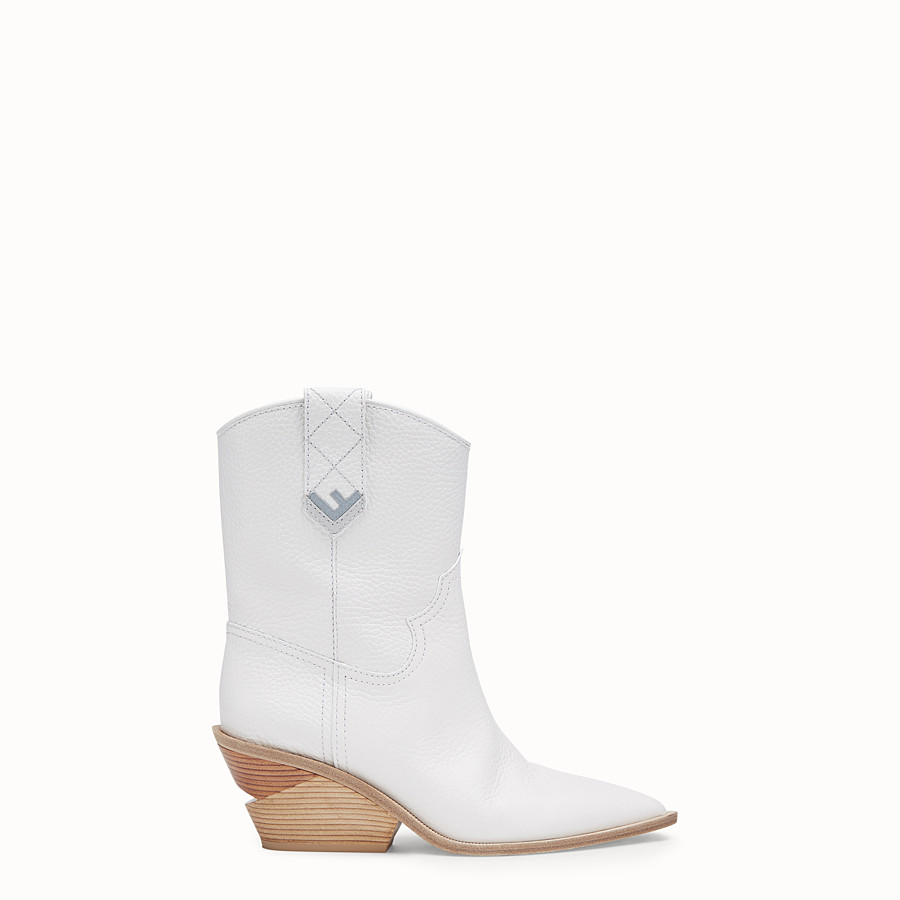 Boots - White leather ankle boots