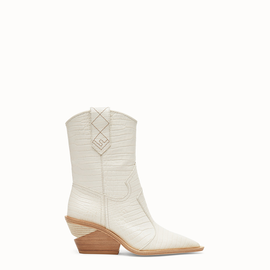 Boots - White crocodile-embossed ankle boots