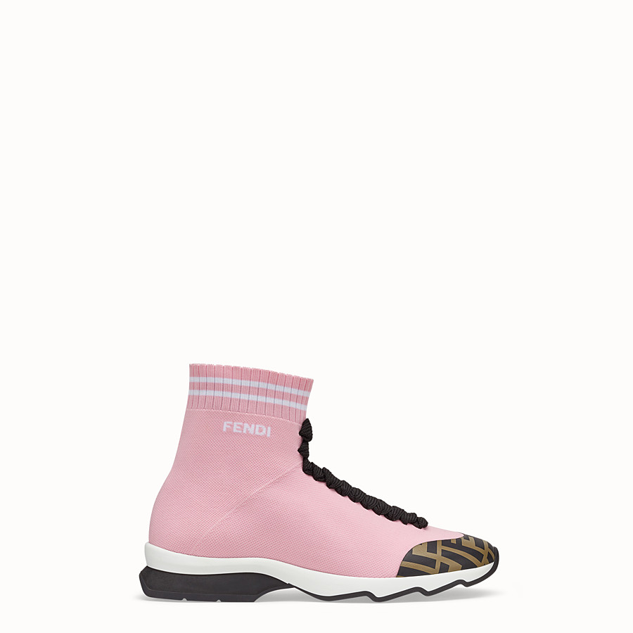 Sneakers - Pink fabric sneaker boots