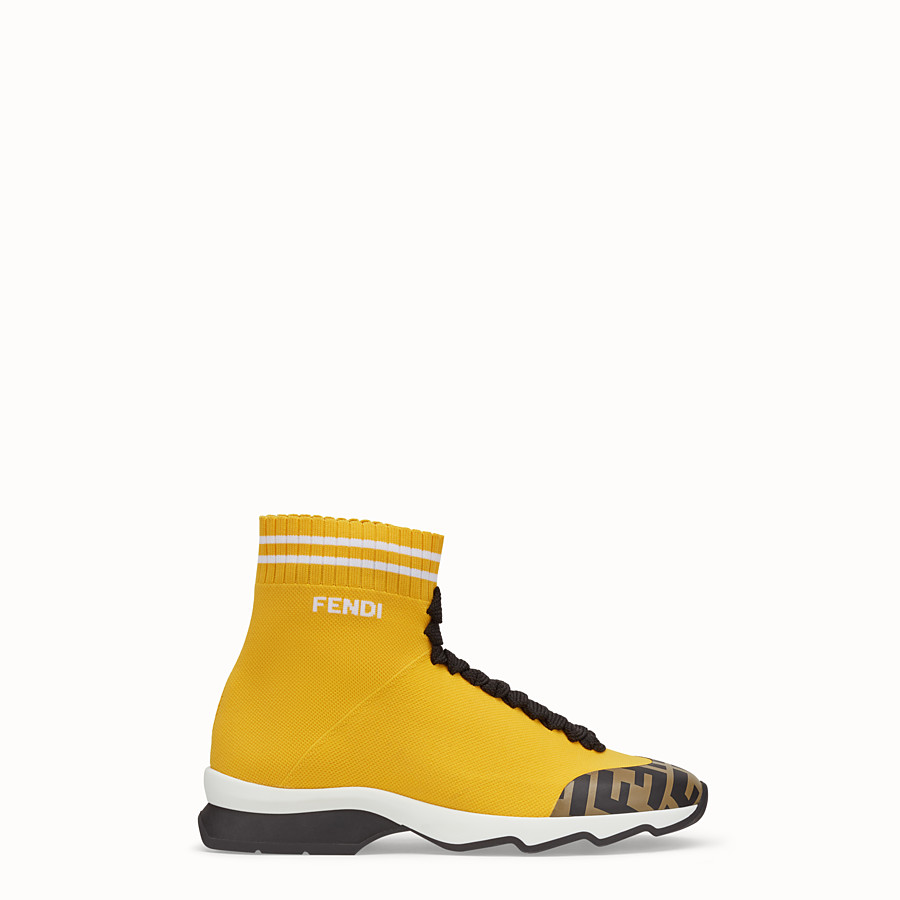 Sneakers - Yellow fabric sneaker boots