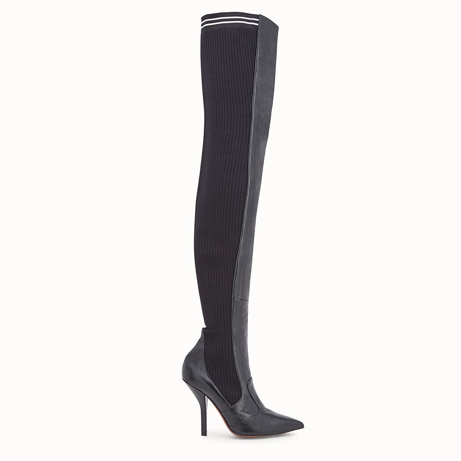 Boots - Black leather thigh-high boots