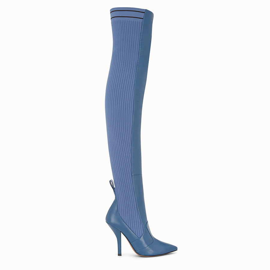 Boots - Blue leather thigh-high boots