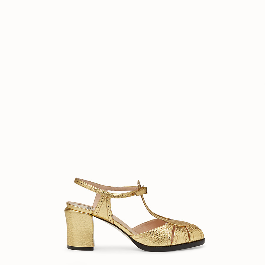 Sandals - Gold laminated leather sandals