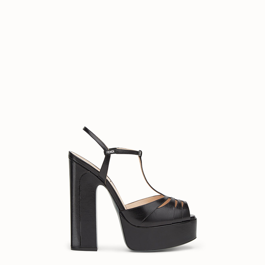 Sandals - High-heeled sandals in black leather