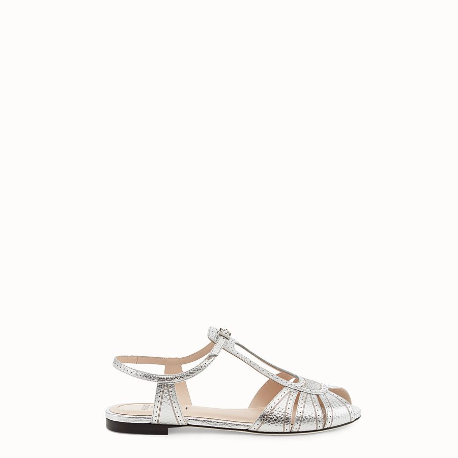 Sandals - Silver leather flats
