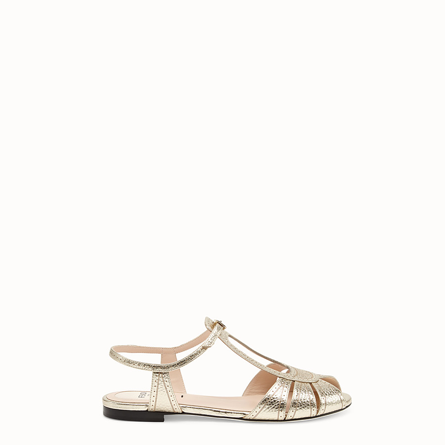 Sandals - Golden leather flats